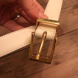 Talbots Off White and Gold Leather Belt SZ M Italy